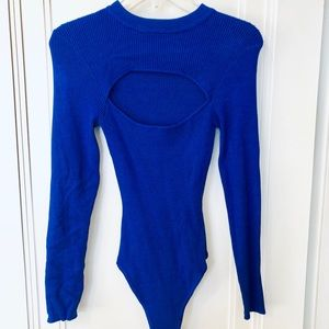 Never-worn, royal blue, cut-out, sweater bodysuit!